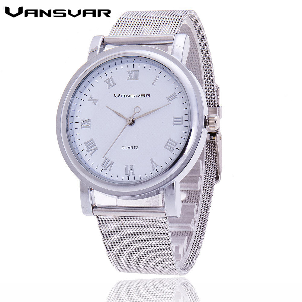Vansvar 2016 Fashion Silver Watches Ladies Casula Women Roman Numerals Luxury Casual Quartz Watch Relogio Feminino 1154 - aiwise store