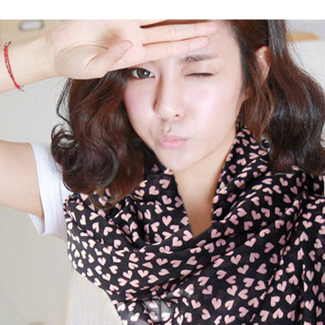 Популярные дизайн мода шарф с логотипом любовь шарфы сердца марка шифоновый шарф платки долго воротник для индии S1059
