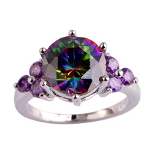 Buy lingmei Wholesale Mysterious Rainbow CZ & Purple Silver Color Ring Size 6 7 8 9 10 11 12 Fashion New Jewelry Free for $2.11 in AliExpress store