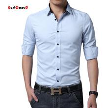 1917-c15-p30-2015 autumn male long-sleeve shirt male shirt solid color blue