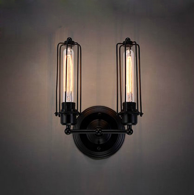 Free shipping Retro wall lamp  +Vintage RH Type Double Wire Cages Wall Lamp Edison Light Bulb Fixture Cage 85-265V E27 Led blubs<br><br>Aliexpress