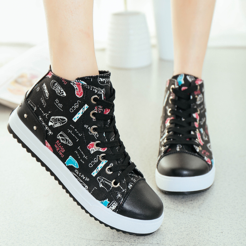 Fashion graffiti Canvas Shoes For Women 2015 top sale high quality and design canvas shoes, 35-40 women canvas shoes(China (Mainland))