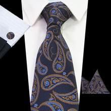 RBOCOTT новый модный галстук синий Пейсли & Цветочный шейный платок мужской 8 см галстук, носовой платок, запонки набор плед & точка красный свад...(China)