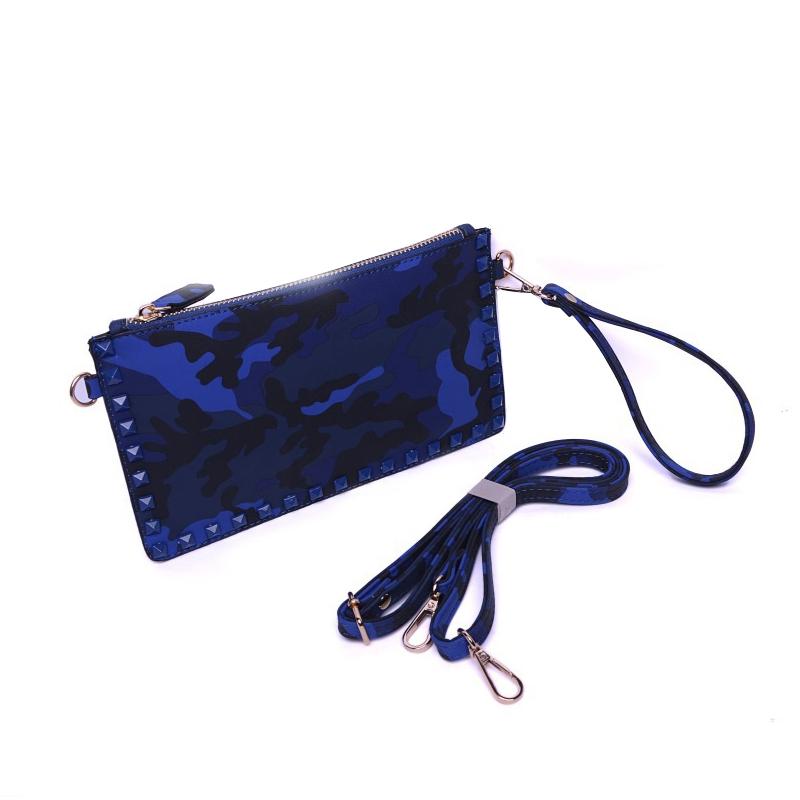 Fashion Camouflage Bag Rivet Clutch Women Messenger Bag Punk Handbags Crossbody Shoulder Bag(China (Mainland))
