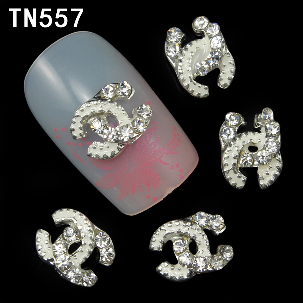 10Pcs/Pack Silver Brand LOGO Letters Alloy 3D Nail Art Decorations Glitters DIY Nail Tools Rhinestones Nails Studs(China (Mainland))
