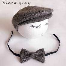 Baby Newborn Peaked Beanie Cap Hat Bow Tie Photo Photography Prop Infant Boy Caps(China)