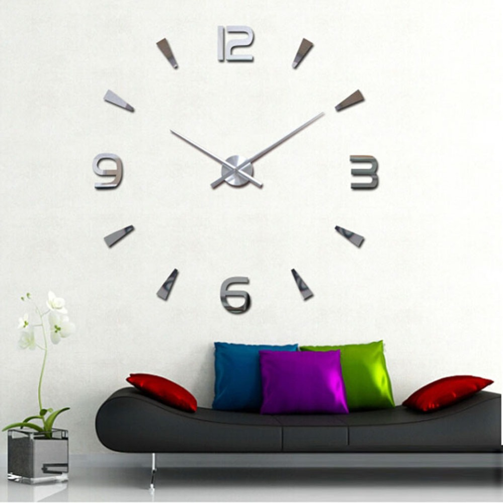 3D Luxury DIY Large Wall Clock Mirror Surface Sticker Home