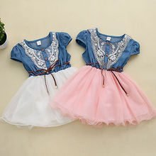2016 Hot Sale Princess Girls Baby Kids Party Lace Belt Denim Tulle Gown Dresses 1-6Y Free Shipping