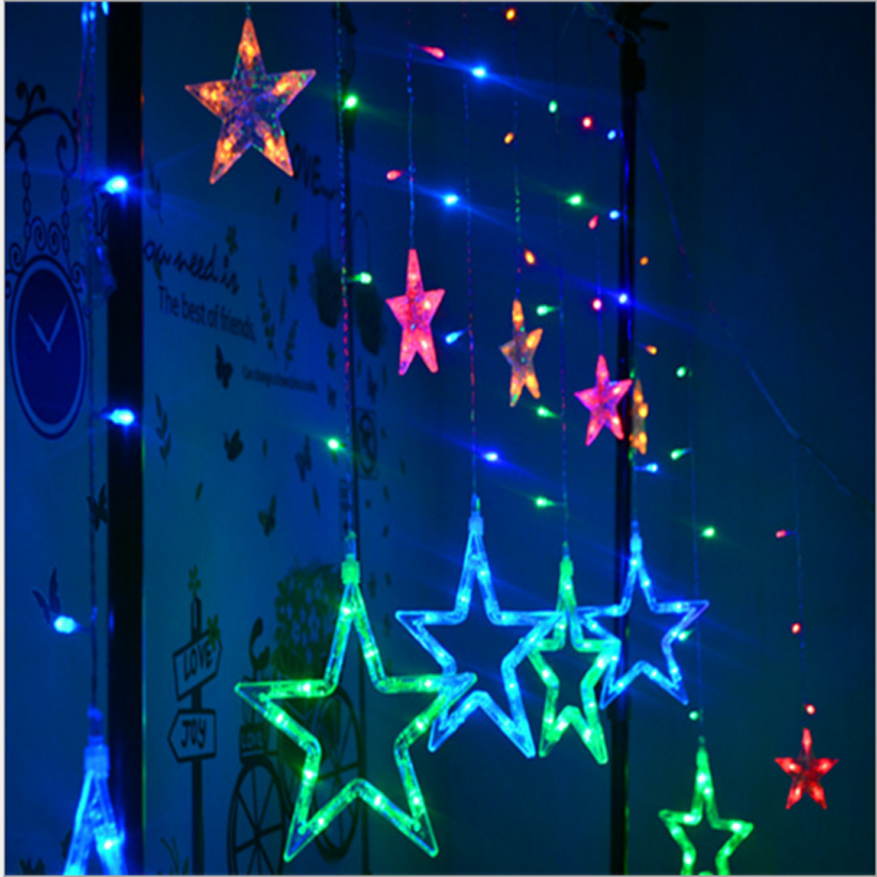 2*0.6M 138LED Star LED Light String Christmas Fairy Icicle Lamp Curtain Wedding Party Tail Plug Decoration Lamps(China (Mainland))