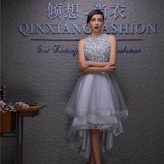 2015 самых продаваемых высокого низкие серые бисероплетение вечерние платья сексуальная ...