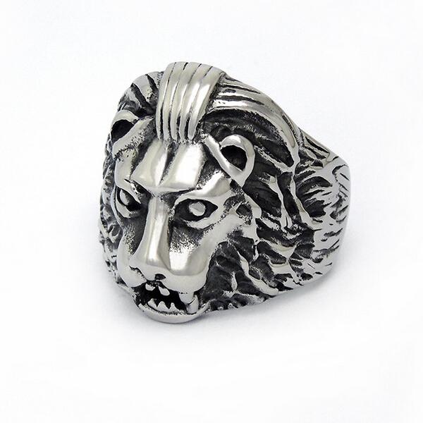 bague tete de lion head men ring stainless steel hombre anillo cabeza de leon anello testa di leone anelli punk animal bv,PS0125(China (Mainland))