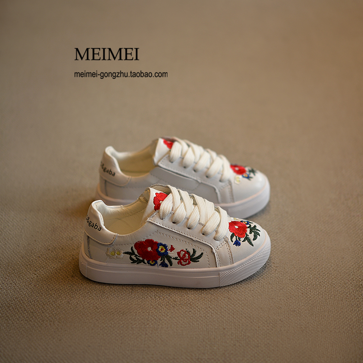 china embroidered 2016 autumn new boys sneakers Black kids shoes white children shoes Running travel girls shoes for sports flat(China (Mainland))