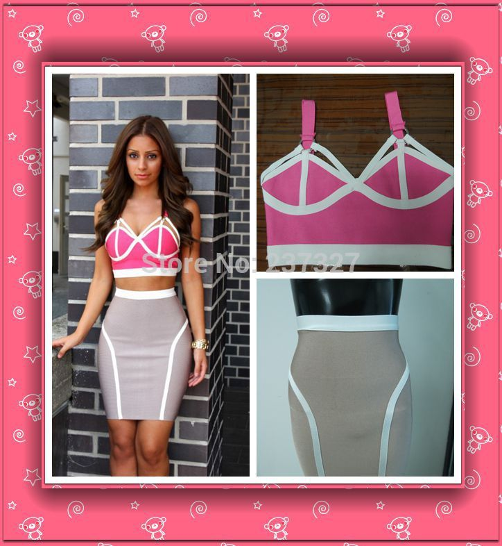 Women Two Piece Outfits 2016 New Fashion Pink&Gray Cocktail Party Prom Bodycon 2 Bandage Dresses - whoinshop Official Store store