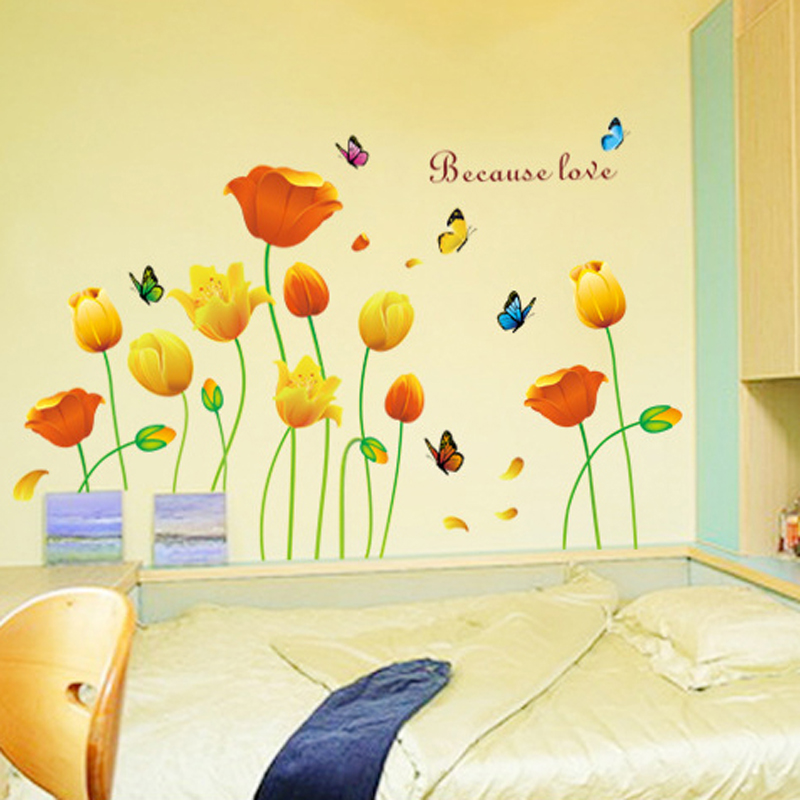 1pcs Tulip Flower Vinyl Stickers Wall Decals Background Living Room Baby Bedroom Bathroom Lobby Home Accessories vinilos paredes(China (Mainland))