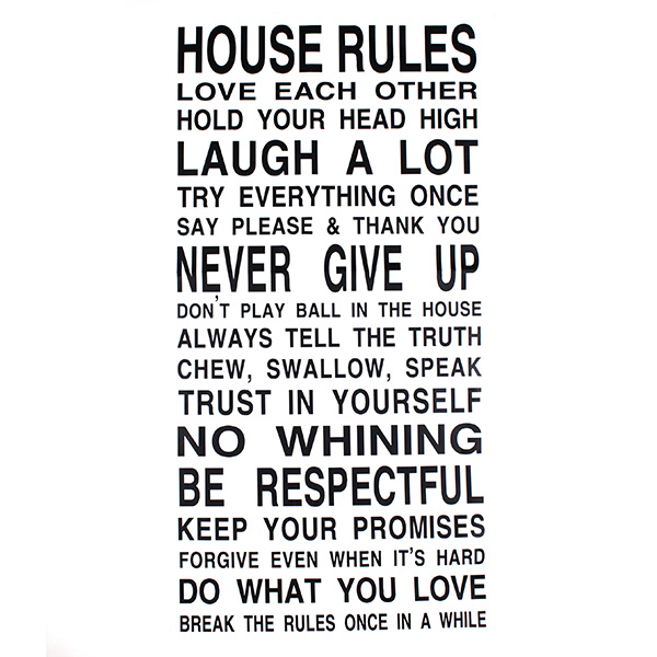 Top Selling Special House Rules Quote Art Words Vinyl Wall Decal Stickers Decor Mural Stick For Home Bedroom Living Room Decor(China (Mainland))