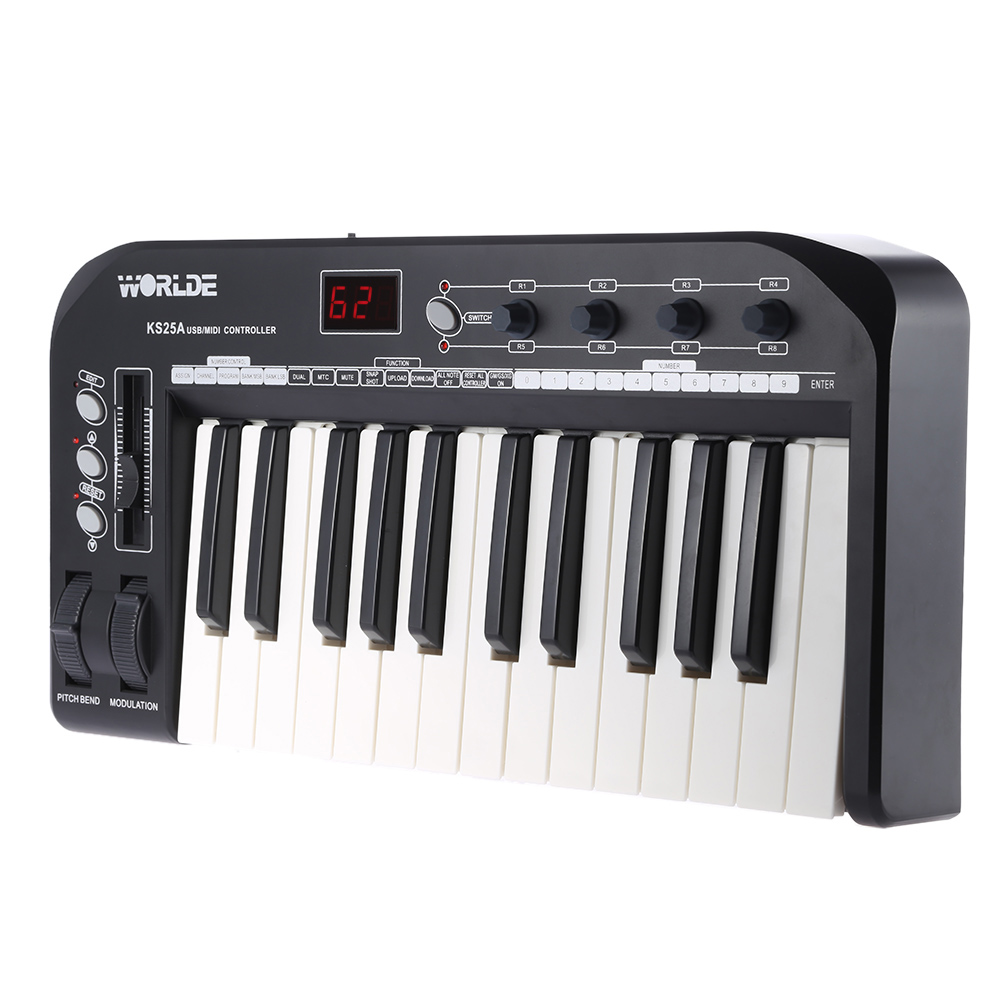 High Quality KS25A 25-key MIDI Keyboard Portable USB MIDI Keyboard Controller with USB Cable(China (Mainland))