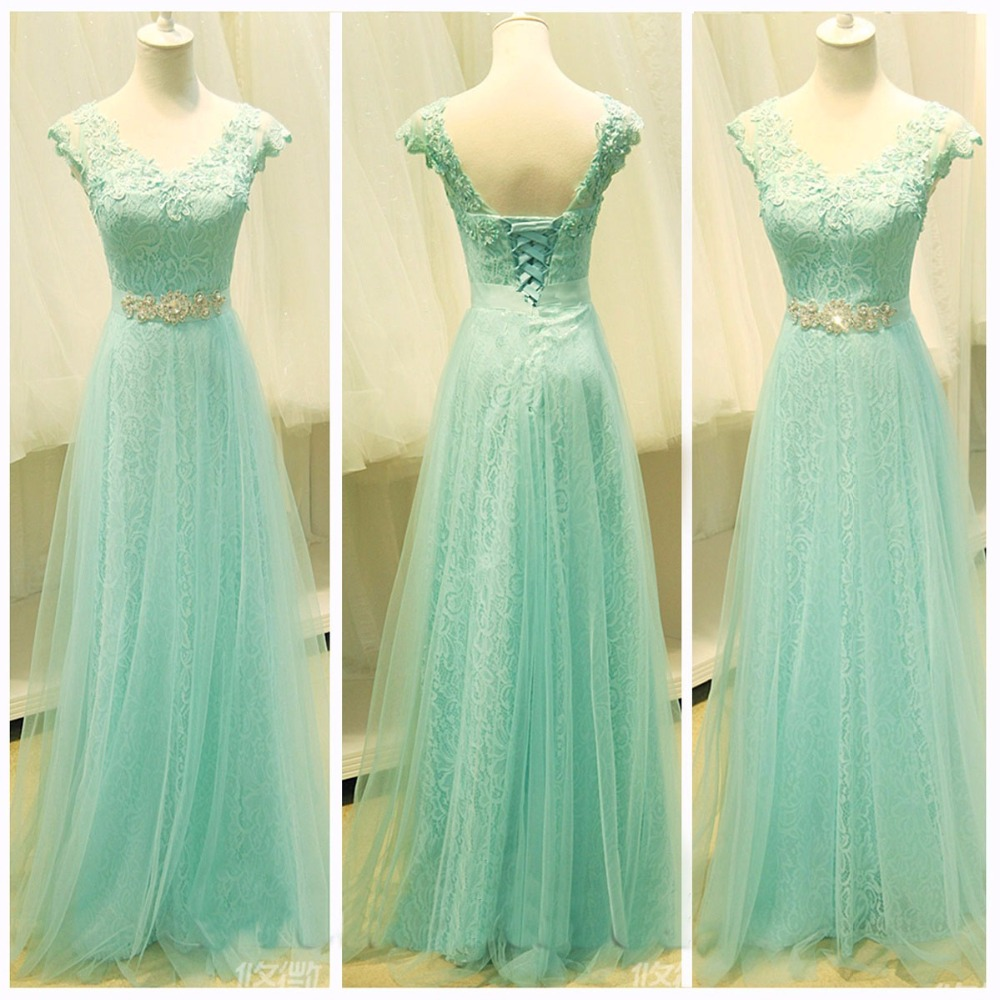 Free Shipping Cap Sleeves V Neck Long Lace Mint Green Prom