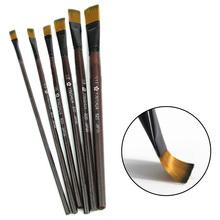 6pcs/set Different Shape Nylon Hair Paint Brush Set Wooden Handle Gouache Watercolor Oil Painting Brush Set Acrylics Art(China (Mainland))
