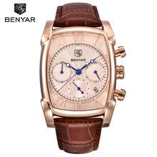 BENYAR Sports militaires hommes montres 2019 Top marque de luxe homme chronographe Quartz-montre en cuir armée mâle horloge Relogio Masculino(China)