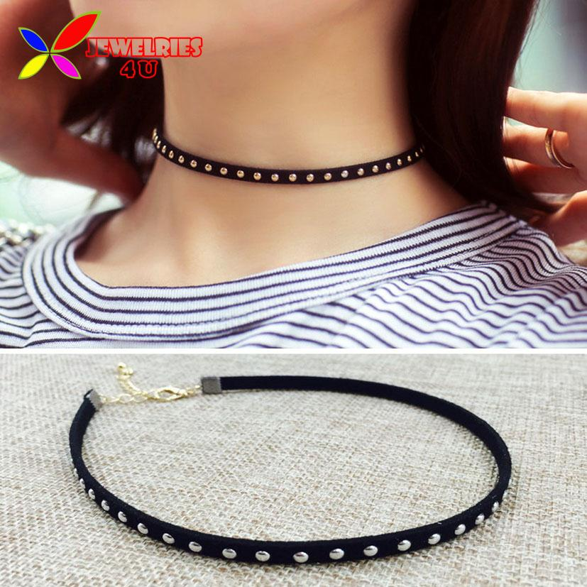Women's Choker Necklace Fashion Punk Black Leather Silver Studs 2015 Hot False Collar Necklaces for women collier Bijoux(China (Mainland))