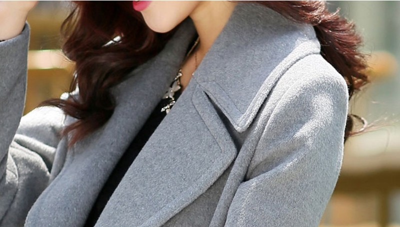 Fashion Women Turn-down Collar Double Breasted Slim woollen cloth coat and sections woolen coat Jacket