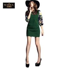 Hot Sale 2015 New Brand European Print Beading Lantern Sleeve O-neck Patchwork Cozy Fashion Dress Free ShippingMA88(China (Mainland))