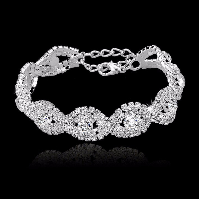2015 Fashion 12 Colors Austrian Crystal Bracelets For Women Gold Silver Charm Bracelets Bangles luxury Wedding Jewelry SBR140169(China (Mainland))