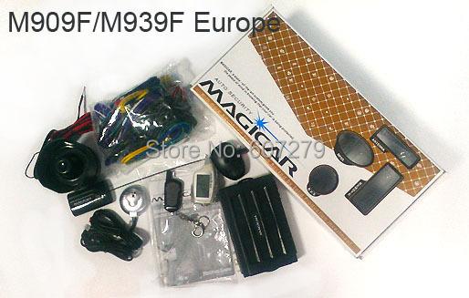 original korean magicar M909F M939F/1 mile remote starter/two way car alarm/LCD display pager/compustar magicar 5/timer start/(China (Mainland))