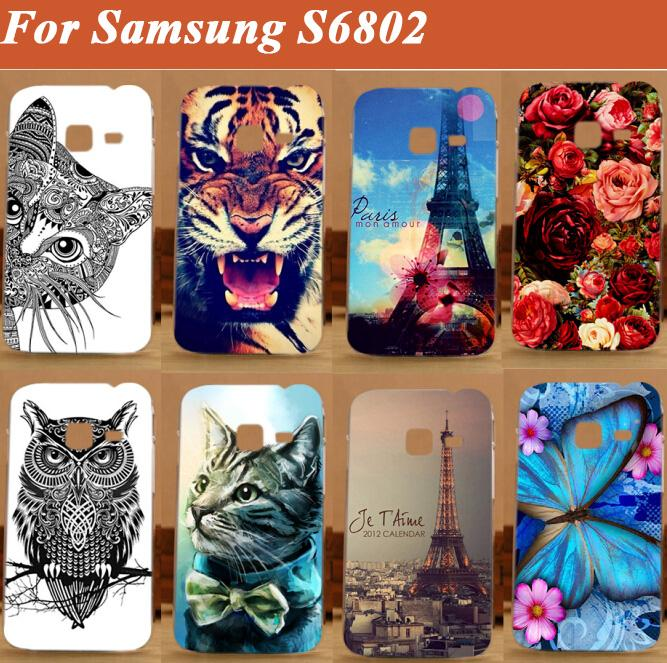 Colored case For Samsung Galaxy Ace Duos S6802 GT-S6802 6802 cover ,high quality painting tiger owl case for samsung s6802 cover(China (Mainland))