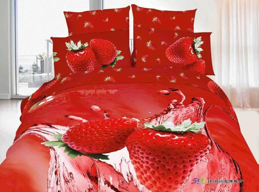 Strawberry king queen bed set wedding red heart bedding for Bride kitchen queen set