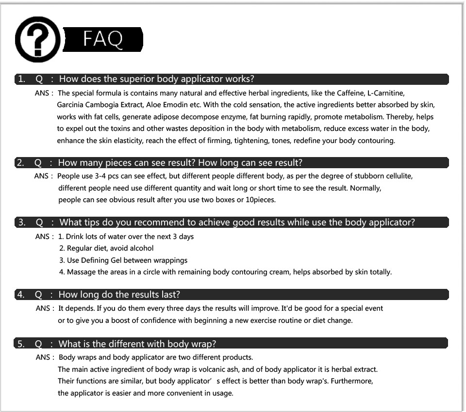 body applicator FAQ