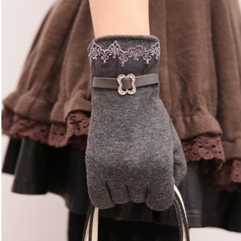 5 Colors New Women Ladies Lace Touch Screen Gloves Winter Autumn Warm Vintage Fashion Outdoor Hands Protection Supplies - JoJo Top Store store