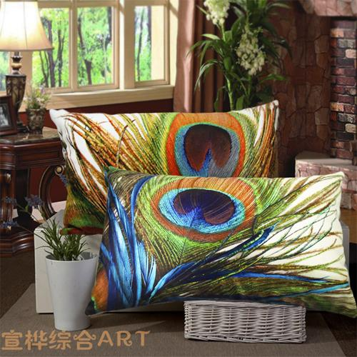 Free shipping/rural style peacock feathers of super soft short plush hold pillow cushion for leaning on 30 * 50 cm(China (Mainland))