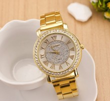 Fashion casual stainless steel Ladies Rhinestone watch Brand Luxury Relogio Relojes diamond silver gold women wristwatches
