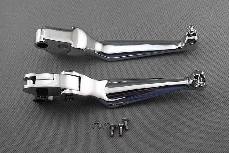 Chrome Skull Billet Aluminium Brake Clutch Levers For Harley Davidson Dyna(China (Mainland))