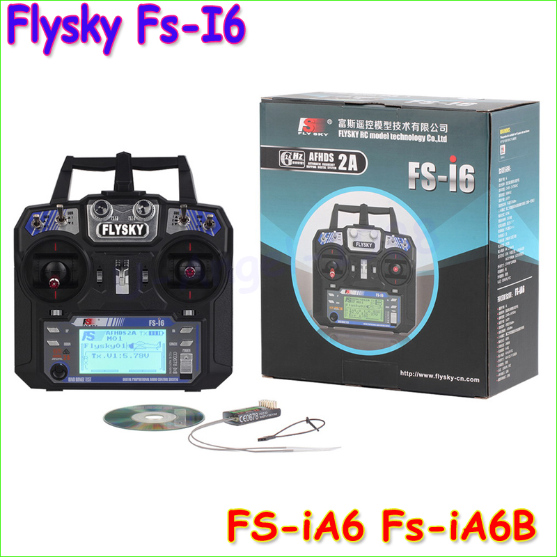 Wholesale FlySky FS-i6 2.4G 6CH AFHDS RC Transmitter With FS-iA6 FS-iA6B Receiver for Airplane Heli UAV Multicopter Drone(China (Mainland))