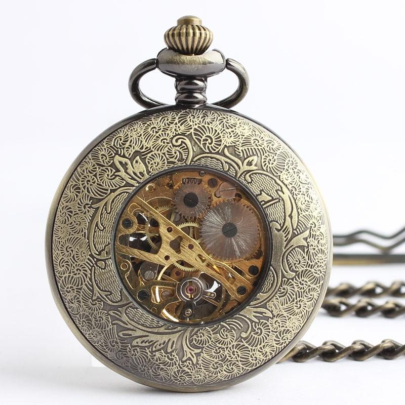 Ретро дворец резные полые механические карманные часы Римская бронзовая механические карманные часы мужчин и женщин часы