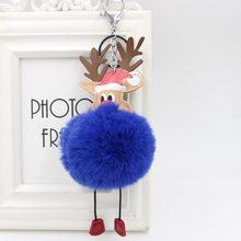 Rena pompom chaveiro colorido falso coelho bola de pele fofo chaveiro titular porte clef saco chaveiro do carro ornamento natal(China)