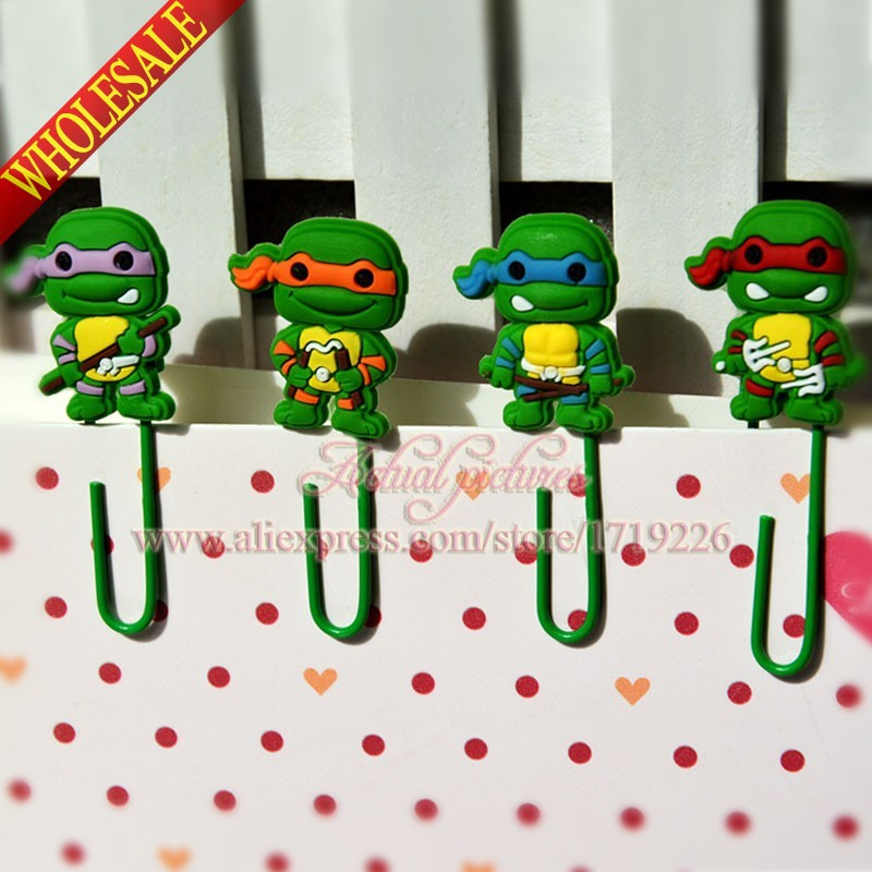 Durable,4pcs/set Teenage Mutant Ninja Turtles TMNT Paper Clips /Bookmarks for Book Page Holder,School/Office Supplies Stationery(China (Mainland))