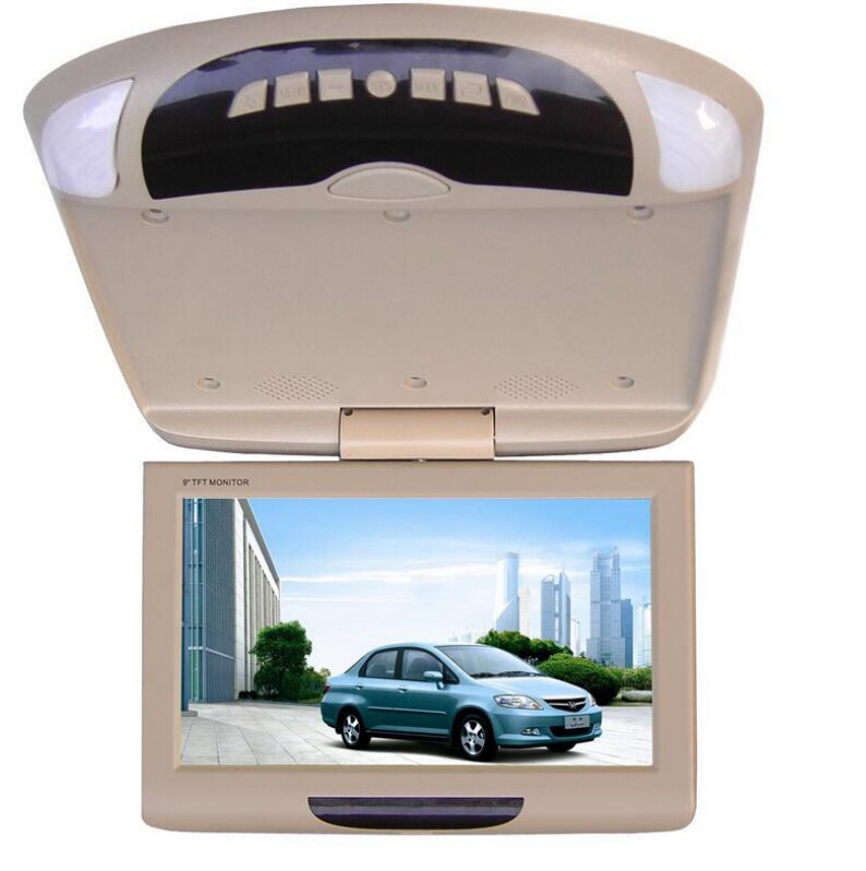 New Car Monitor 9 Inch Roof Mount Car LCD Monitor Flip Down DVD Screen Overhead Multimedia Video Ceiling Roofmount Display(China (Mainland))
