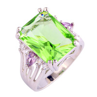 Gorgeous Jewelry Wholesale Cocktail Emerald Cut Green Amethyst White Sapphire 925 Silver Ring Size 7 8 9 10 Romantic Love Style