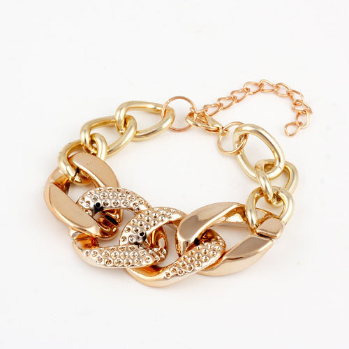 Jewelry Fashion Cheap Gold Plated Alloy Chain Chunky Bracelets & Bangles Women Bracele(China (Mainland))