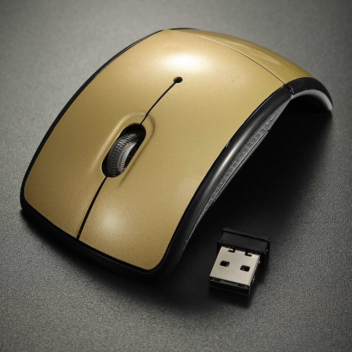 Gold2.4GHz Arc Touch Wireless Mouse Slim Foldable Flat Mouse Ultrathin Computer folding Mice Touch Mouse(China (Mainland))