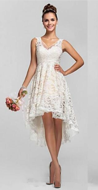 Vintage a line hi lo lace short wedding dresses 2015 new for Summer dresses for wedding party