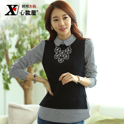 2015 autumn plus size clothing slim faux two piece Women stripe shirt long-sleeve T-shirt