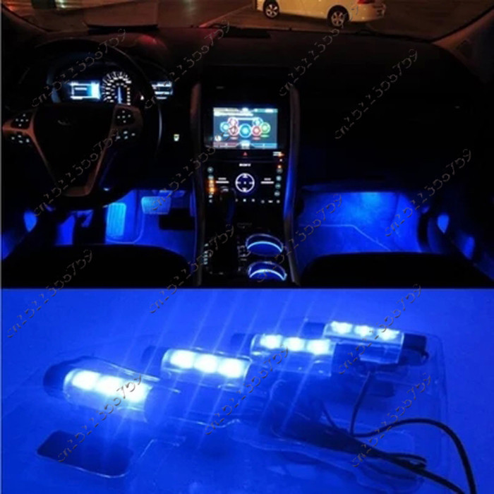 A set LED Car Charger Atmosphere Light Lamp Blue Glow Car Interior Decor Floor Free shipping(China (Mainland))