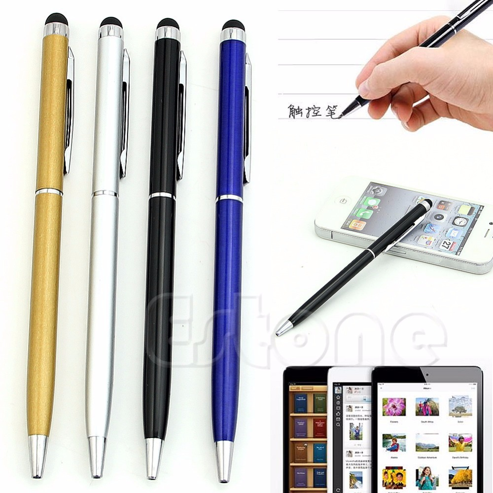 Capacitive Touch Screen Stylus 2 in 1 Ball Point Pen For iPhone 6/5/4 iPad 2/3(China (Mainland))