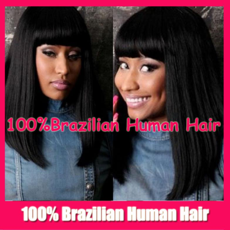 Fashion Long Bob Hair bangs Straight Brazilan Humen Natural Full Lace wig / Glueless Front Wigs baby hair - Beauty Mall store