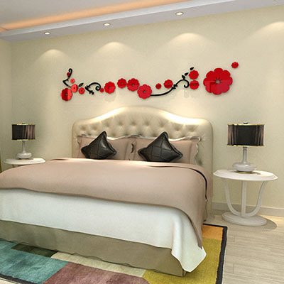 Flower acrylic crystal 3d three-dimensional wall stickers Bedroom background decoration - Zeng yong Wall Store store