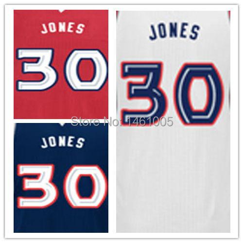 Free Shipping - Stitched Atlanta Basketball Shirt #30 Dahntay Jones Authentic Basquete 30 Home Road Alternate jerseys(China (Mainland))